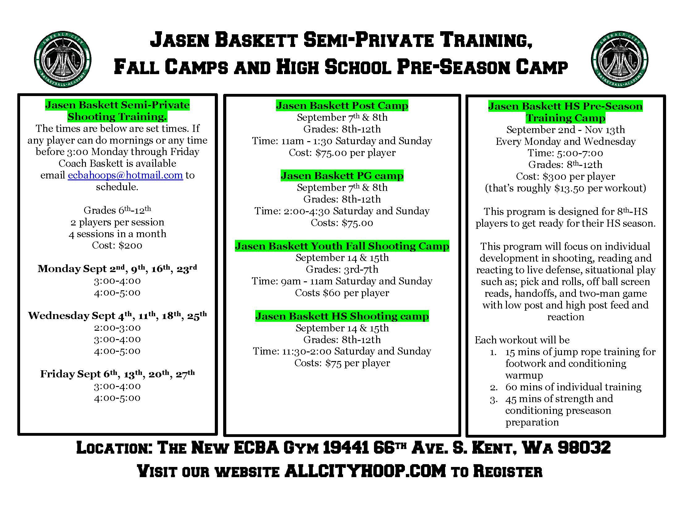 Jasen Baskett Fall Camps