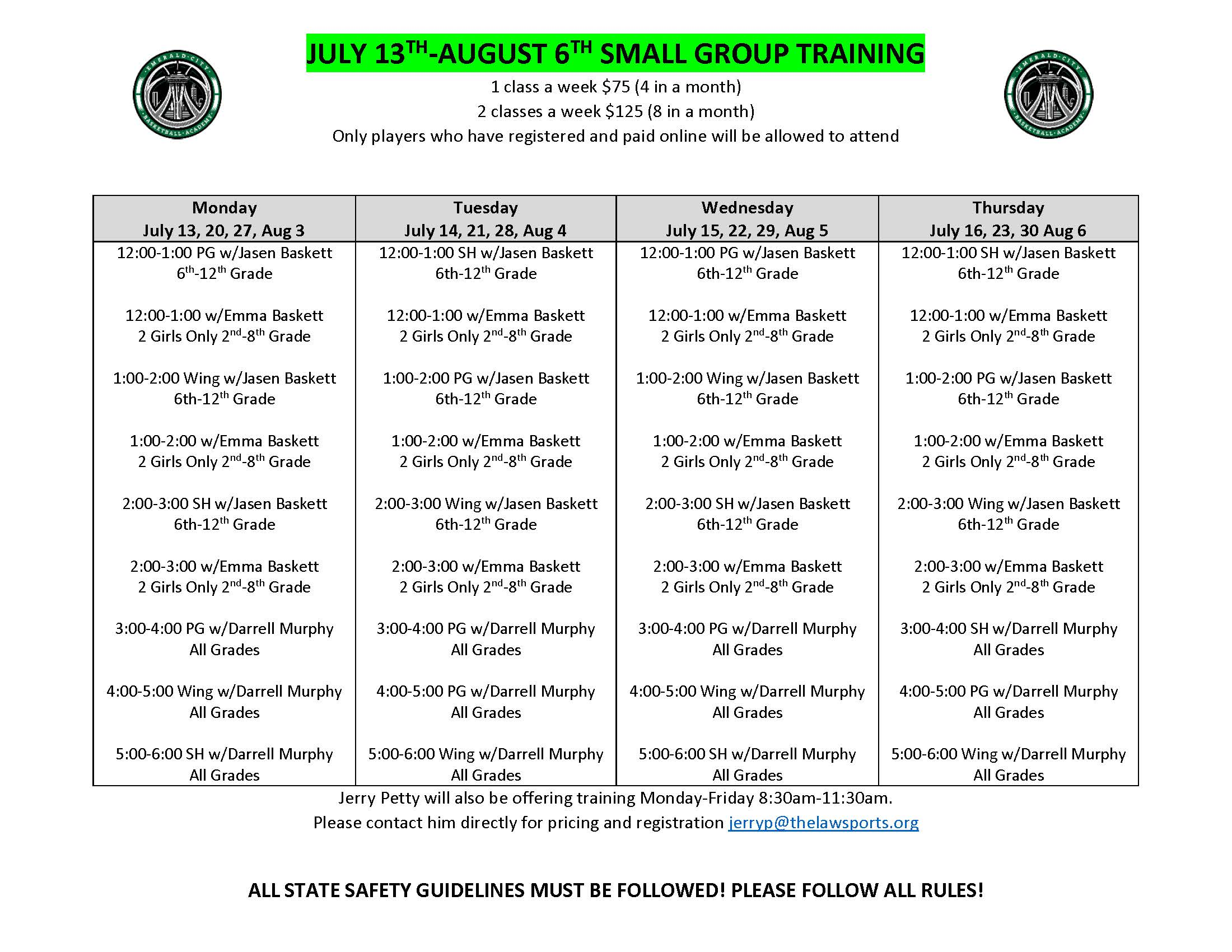 JULY 13TH-AUG 6 Small Group Training