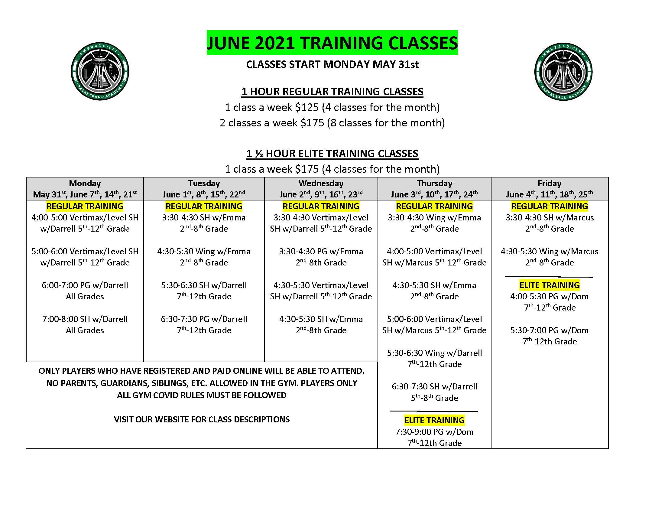 JUNE 2021 TRAINING CLASSES