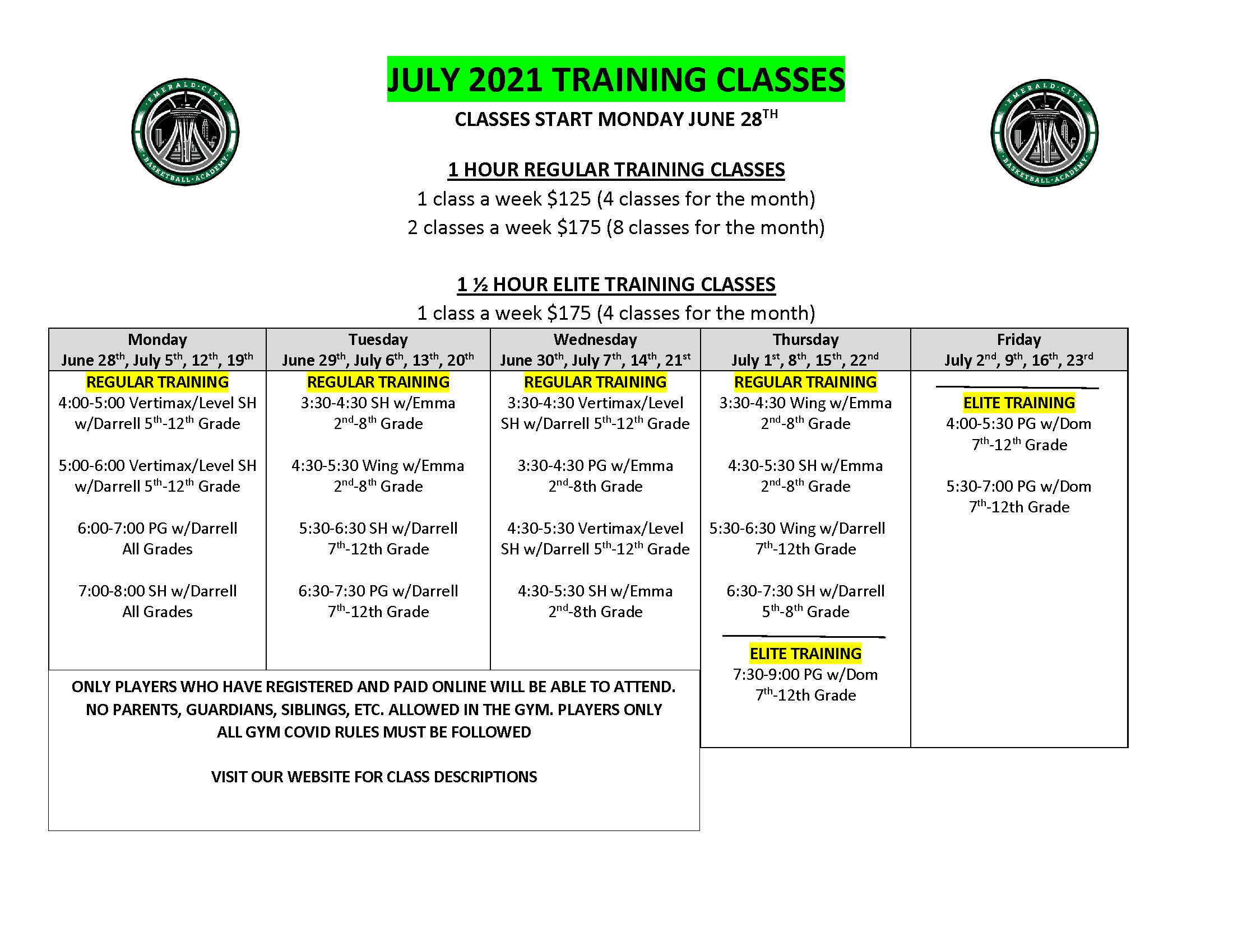 JULY 2021 TRAINING CLASSES