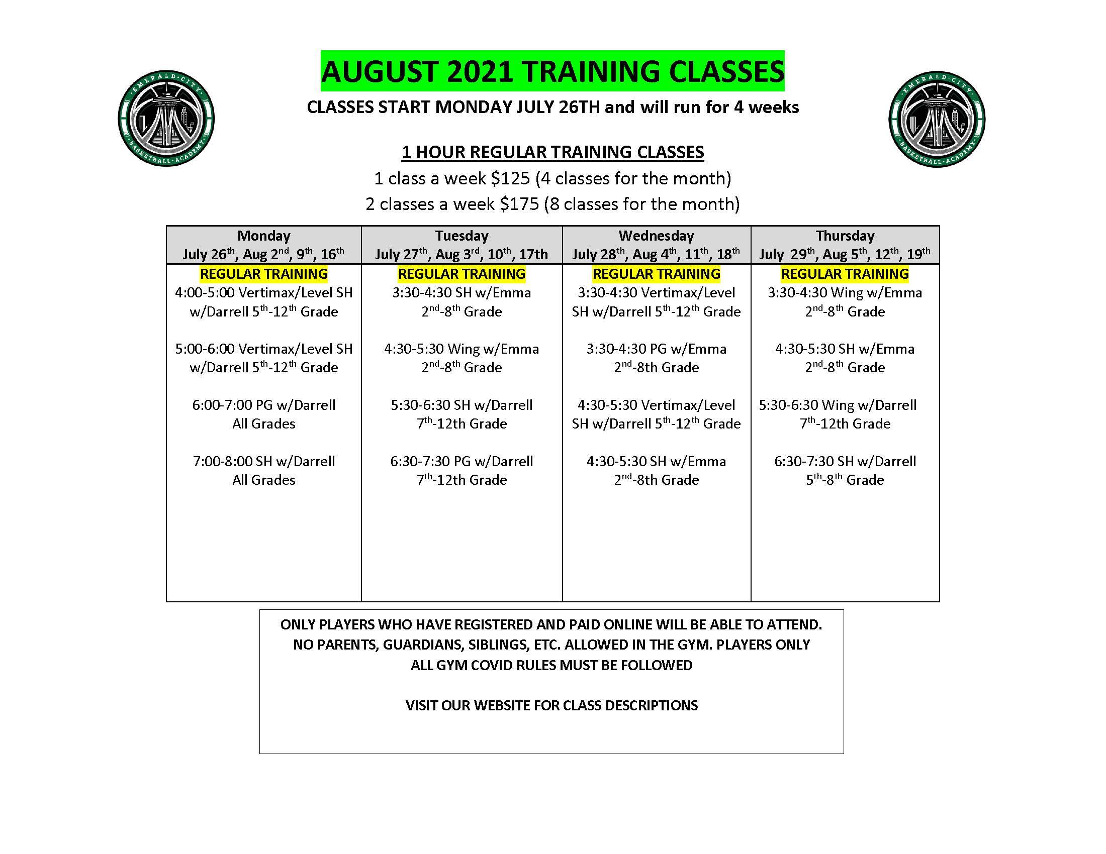 AUGUST 2021 TRAINING CLASSES