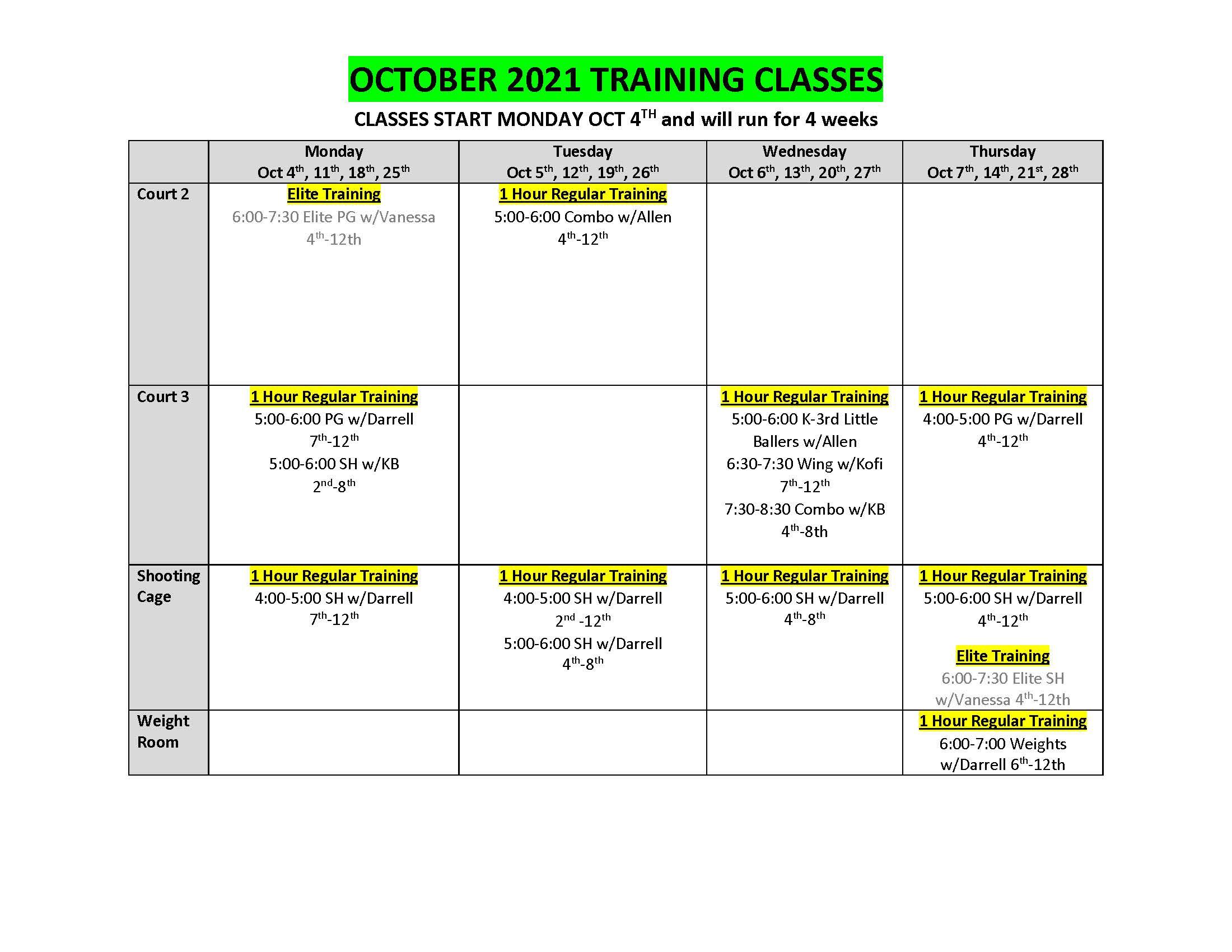 OCTOBER 2021 TRAINING CLASSES_
